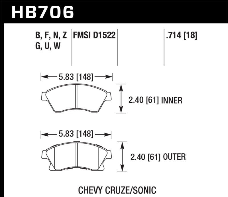 Hawk Performance Ceramic Brake Pad Sets HB706Z.714