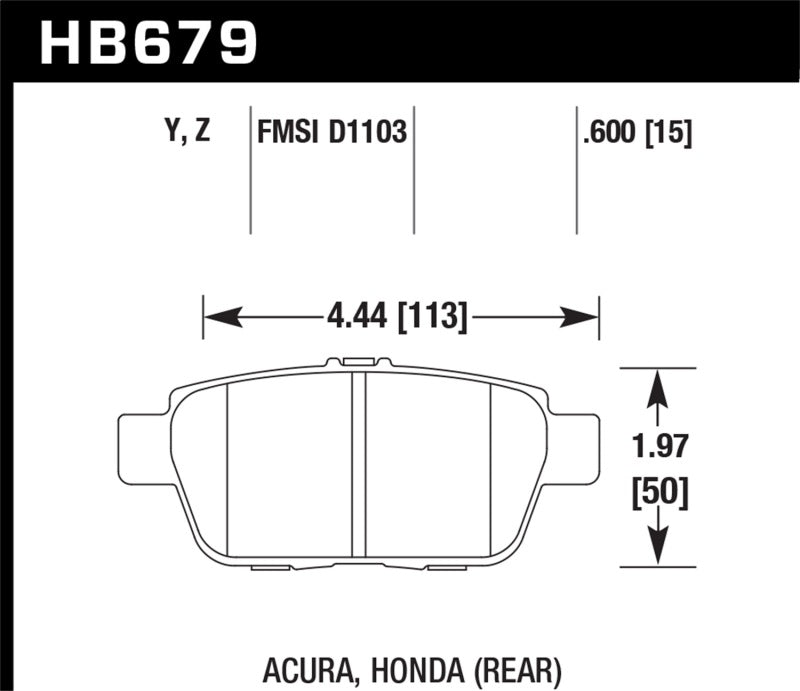 Hawk Performance Ceramic Brake Pad Sets HB679Z.600