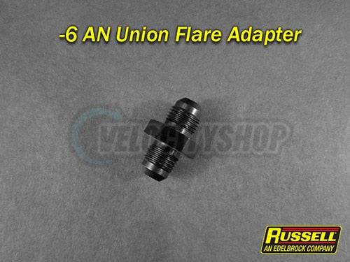Russell -6 AN Flare Union Adapter Fitting Black Finish