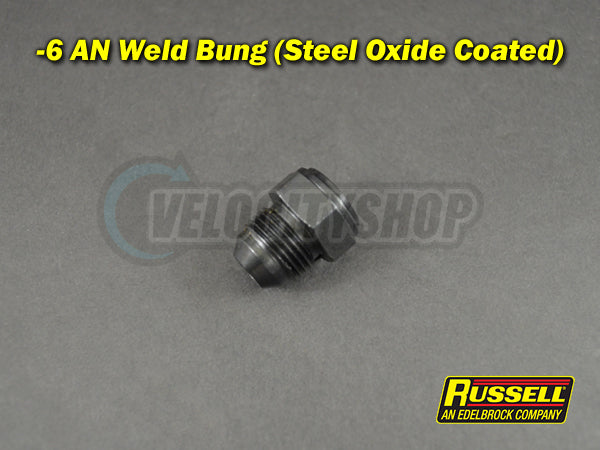 Russell Weld Bung -6 AN Male Steel Black Oxide Coated