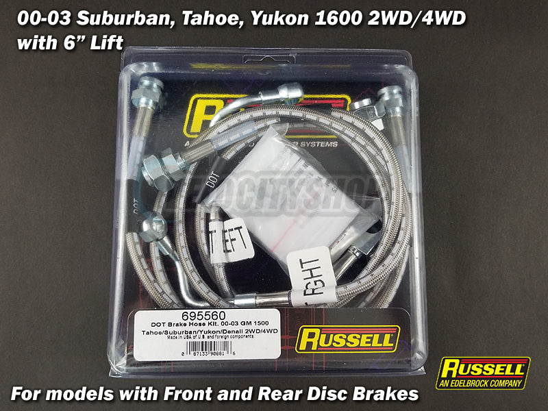 "Russell Stainless Brake Lines for 00-06 Suburban Tahoe Yukon 1500 w/ 6"" Lift"