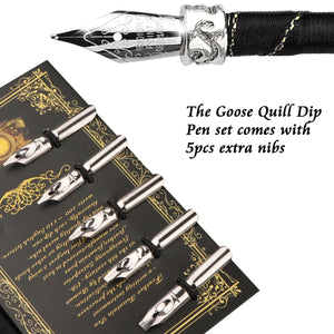 Hand Carved Goose Quill Pen Set Feather Dip Pen Kit with Elegant Carving Pen Stand/Ink Bottle/5pcs Nib