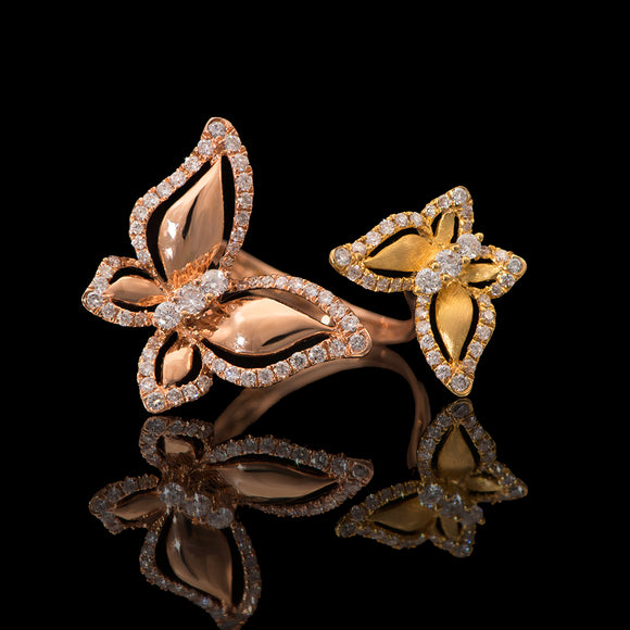 18k Rose and Yellow Gold 0.73 ct Diamond Butterfly Open Ring - Glad Jewelry