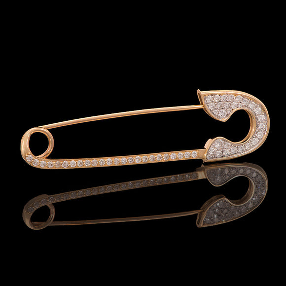 14k Yellow Gold 0.8 ct VS Diamond Safety Pin Brooch - Glad Jewelry