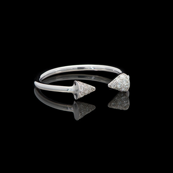 14k White gold 0.13 ct Diamond Open Cuff Triangle Ring - Glad Jewelry