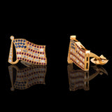 18k Yellow Gold 1.32 ct Baguette Diamond and 0.91 ct Rubies American Flag Cufflinks - Glad Jewelry
