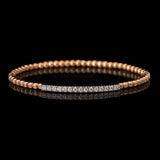18k Rose Gold 0.35 ct Diamond Stretch Bangle Bracelet - Glad Jewelry