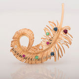 14k Yellow Gold Multistone Feather Pin Brooch - Glad Jewelry