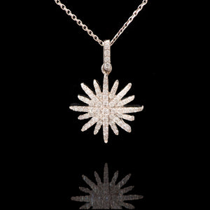 14k White Gold 0.45 ct Diamond Starburst Necklace - Glad Jewelry