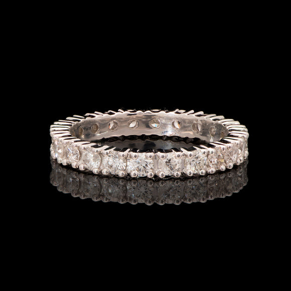 14k White Gold 1.25 ct Diamond Eternity Wedding Band - Glad Jewelry
