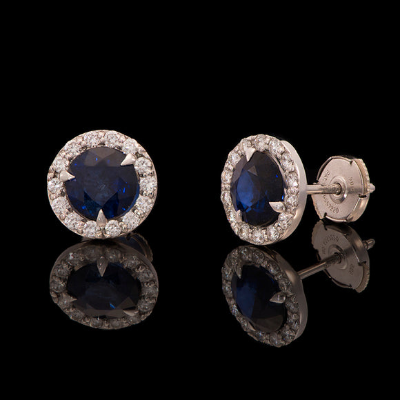14k White Gold Blue Sapphire and 0.38 ct Diamond Stud Earrings - Glad Jewelry