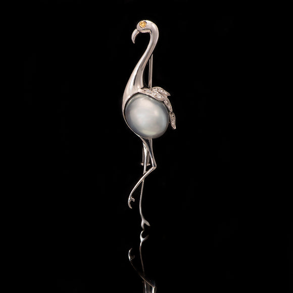18k White Gold Pearl and Diamond Flamingo Pin Brooch - Glad Jewelry