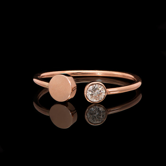 14k Rose Gold 0.18 ct Diamond Open Cuff Ring - Glad Jewelry