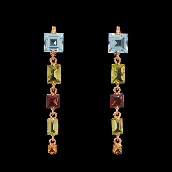 Vintage 14k Yellow Gold Multistone Dangle Earrings - Glad Jewelry