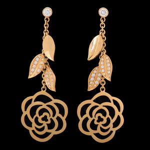18k Yellow Gold 0.68 ct Diamond Rose Flower Dangle Earrings - Glad Jewelry