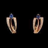 14k Yellow Gold  Blue Sapphire and 0.07 ct Diamond Huggie Earrings - Glad Jewelry