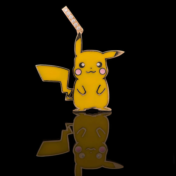 14k Yellow Gold 0.035 ct VS1 Diamond Pikachu Pokemon Pendant - Glad Jewelry