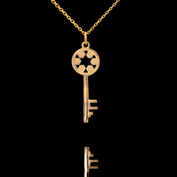 14k Yellow, White and Rose Gold Key Necklace - Glad Jewelry