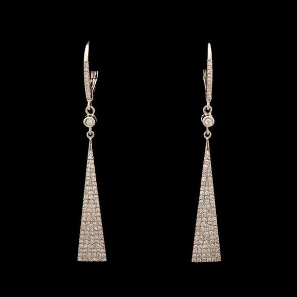 14k White gold 0.87 ct Diamond Triangle Dangle Earrings - Glad Jewelry
