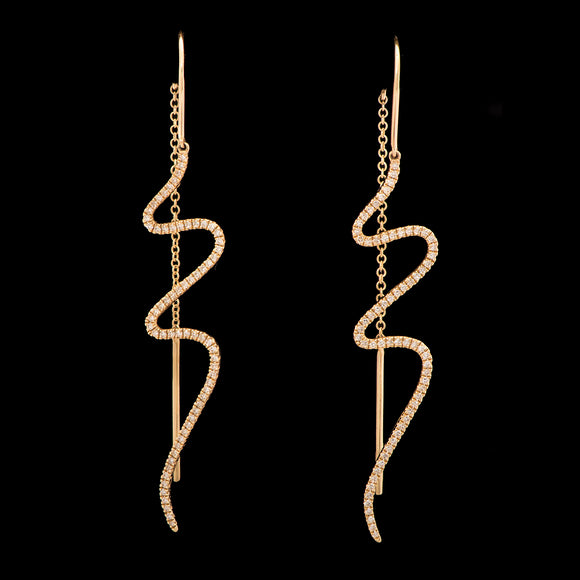 14k Yellow Gold 0.86 ct Diamond Threader Earrings - Glad Jewelry