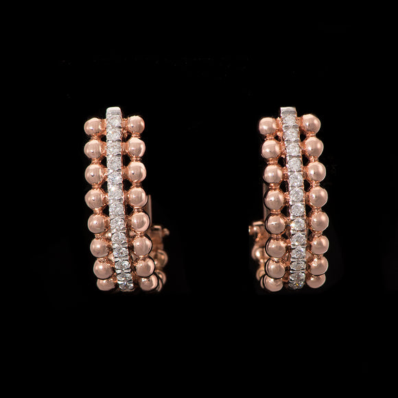 18k Rose Gold 0.33 ct Diamond Huggie Earrings - Glad Jewelry