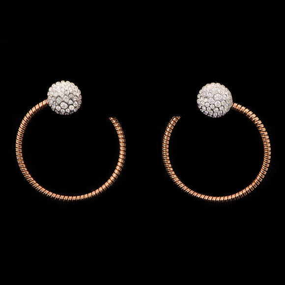 18k Rose Gold 0.85 ct Diamond Hoops Earrings - Glad Jewelry