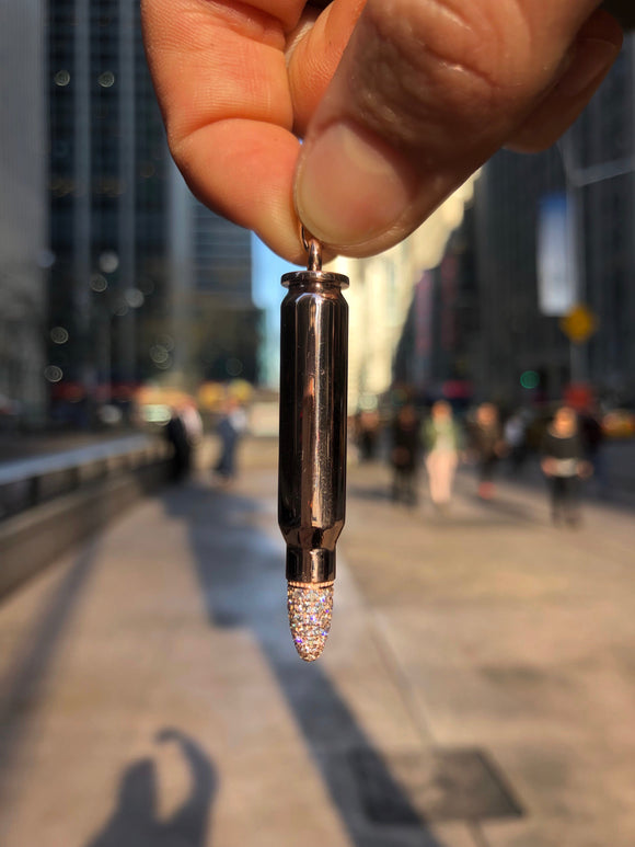 18k Rose Gold Bullet pendant with 0.64 ct Diamond tip