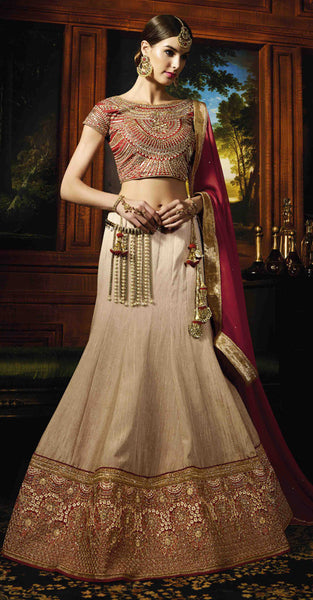 Mauroon and Gold Lehenga