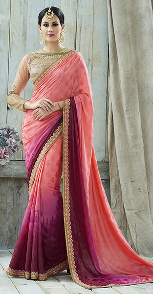 Beige and Pink with purple Designer Saree