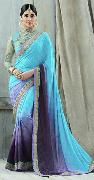 Blue and Purple Shaded Designer Saree