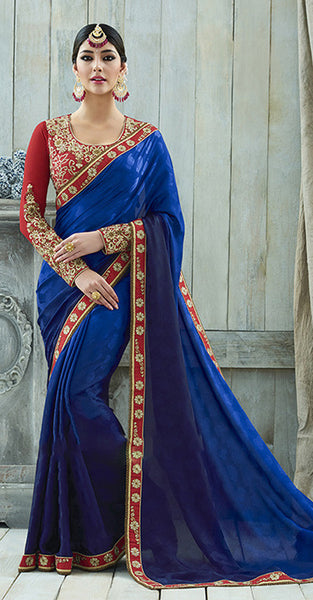 Blue and Red Designer Saree