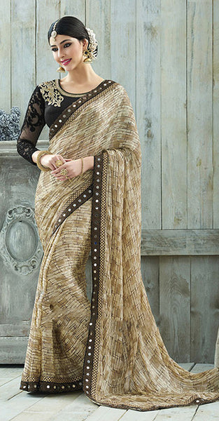 Beige and Black Designer Saree