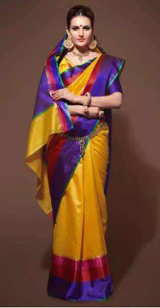 Yellow Tussar Silk Saree With Blouse Piece