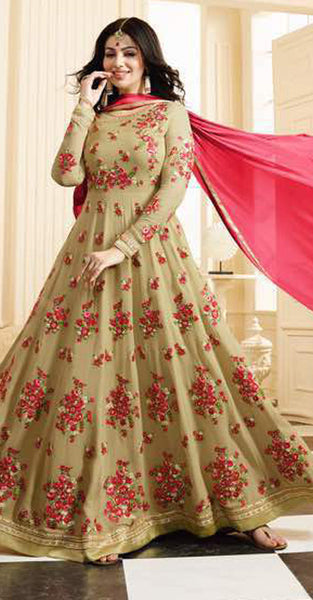 Beige with Pink flowers Embriodery Anarkali