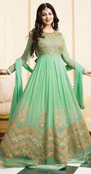 Light Green and Gold Anarkali Suit