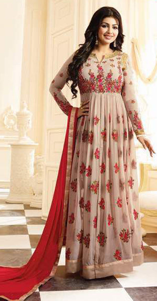 Beige and Red Anarkali