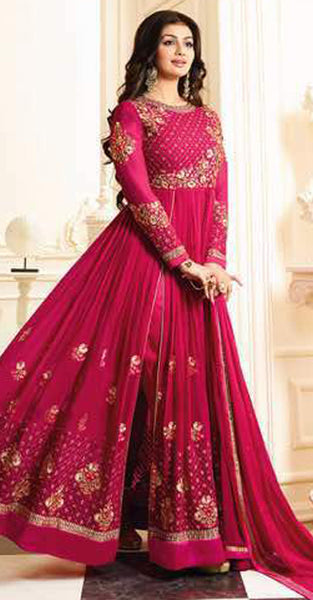 Pink with Gold with Embriodery Anarkali