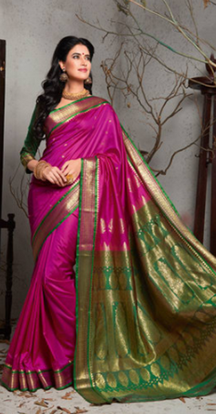 Pink Bangalore Silk Saree With Contrast Jacquard Pallu