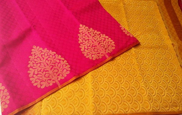 Pink with Mustard Yellow Soft Silk Saree