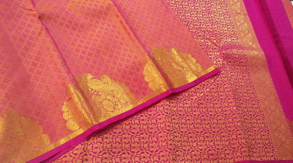 Pink and Purple with Gold Soft Silk Saree