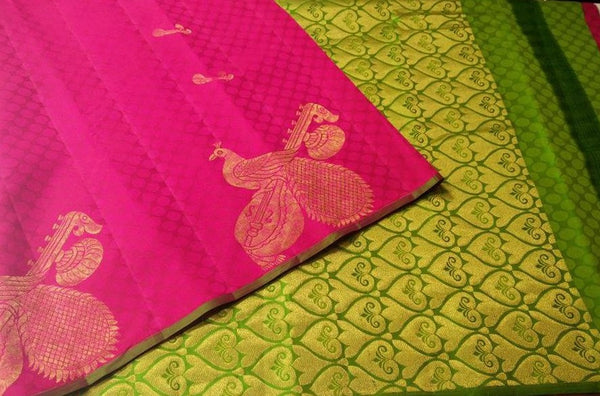 Green and Pink with Peacock Designed in Gold Soft Silk Saree