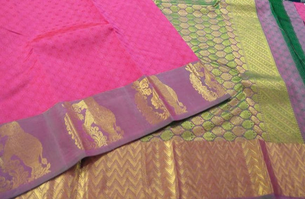 Light Green and Pink with Elephant Gold Designed Soft Silk Saree