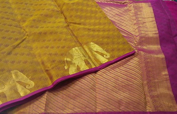 Purple and Mustard Yellow with Elephant in Gold Designed Soft Silk Saree