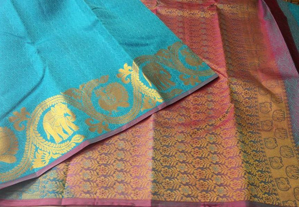 Blue & Pink/Purple Shaded with Elephant in Gold Designed Soft Silk Saree