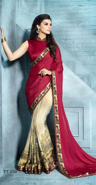 Cream and Mauroon Designer Saree