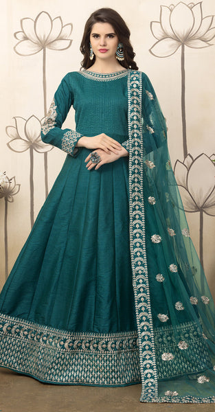 Green Embriodery Anarkali