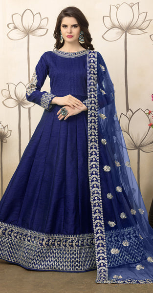 Navy Blue with Embriodery Anarkali