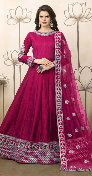 Pink with Embriodery Anarkali