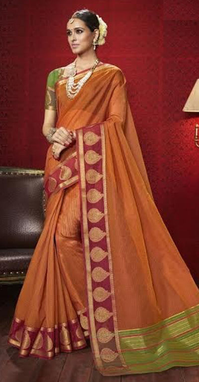 Rust Orange Designer Silk Saree
