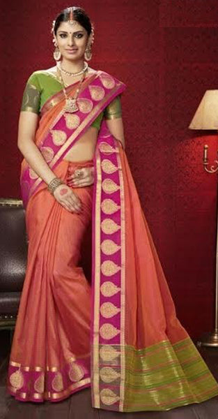 Peach Designer Silk Saree